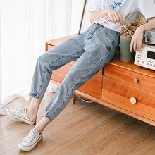 夏季時尚哈倫牛仔褲女小腳束腿休閑 九分褲版高腰寬松學生9分褲