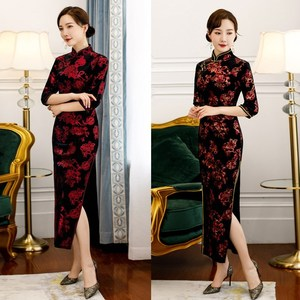 Chinese Dresses Qipao for women robe chinoise cheongsam Cashmere sleeve long cheongsam large dress cheongsam