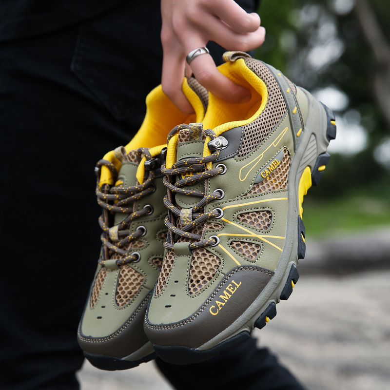 2019夏季新款真皮骆驼登山鞋男网布透气户外运动休闲鞋徒步旅游鞋