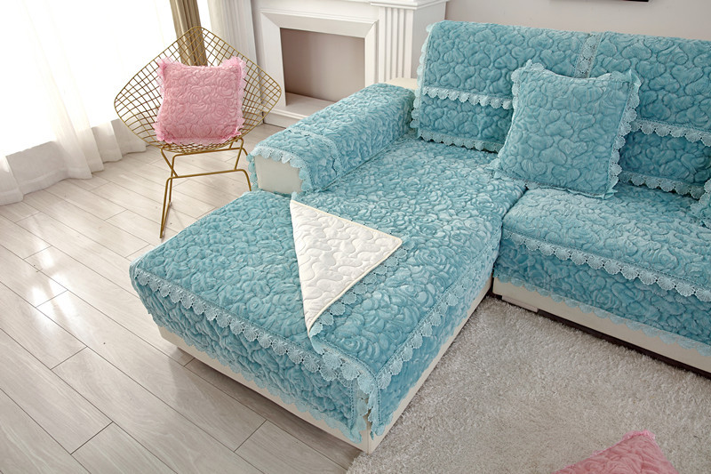 Thick Slip Resistant Couch Cover for Corner Sofa Made with Plush Fabric Including Lace for Living Room Decor 27