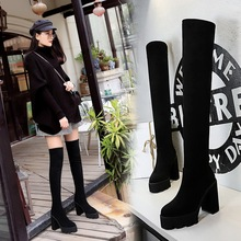 1909-1 Korean version boots with thick heel, super high heel, thick sole, waterproof platform, thin suede, slim foot, trend knee high boots