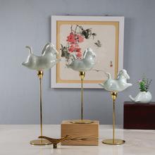 新中式铁艺底座陶瓷马飞马家居客厅样板房软装工艺品礼品赠送佳品