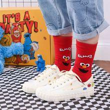 新款芝麻街中筒女袜精梳全棉女袜 个性潮袜 面包超人高筒潮袜
