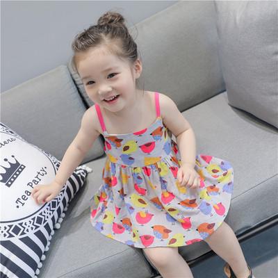童可星 2019夏季新款女童连衣裙中小童卡通印花纯棉吊带裙沙滩裙