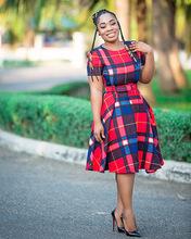 W8184 一件代發歐美跨境女裝 時尚休閑格紋大擺裙連衣裙 含腰帶