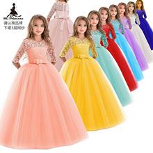 亚马逊爆款儿童礼服长袖婚礼花童裙Ebay热卖欧美公主裙Girl dress