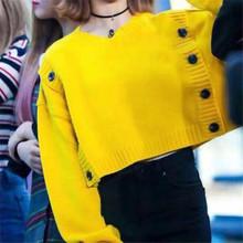 韓版早秋chic檸檬黃圓領一片式雙排扣少女甜美時尚短款長袖毛衣女