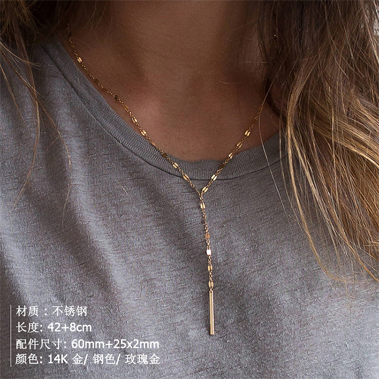 New stainless steel chain necklace female simple gold-plated clavicle chain 316L accessories NHTF175321