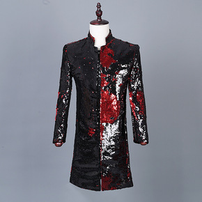 Men's colorful sequined Western nightclub jazz dance band coats DJ men's Sequin performance dress suits host singers jackets
