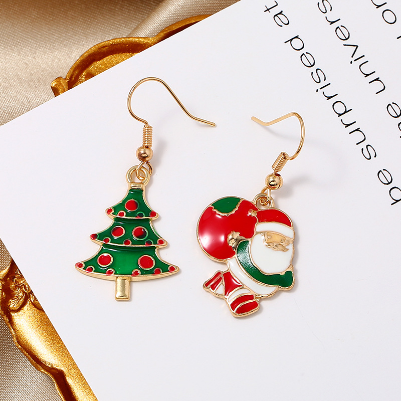 Simple fashion Christmas candy color old man gift box Christmas earrings NHKQ171285