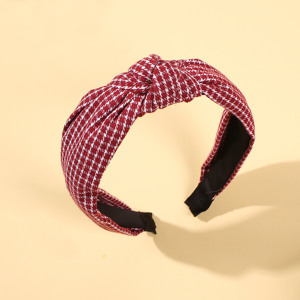 Fashion Plaid Fabric Sweet Hair Hoop Cross Wide Edge Hoop Hair Accessories NHMD185473