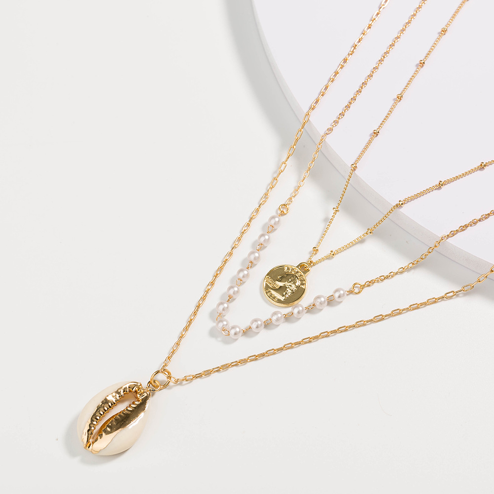 Retro golden coin pearl shell pendant multilayer necklace NHAN359940