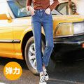 2019秋季新款高弹力牛仔裤女士 高腰显瘦抓毛加厚烟管裤一件代发