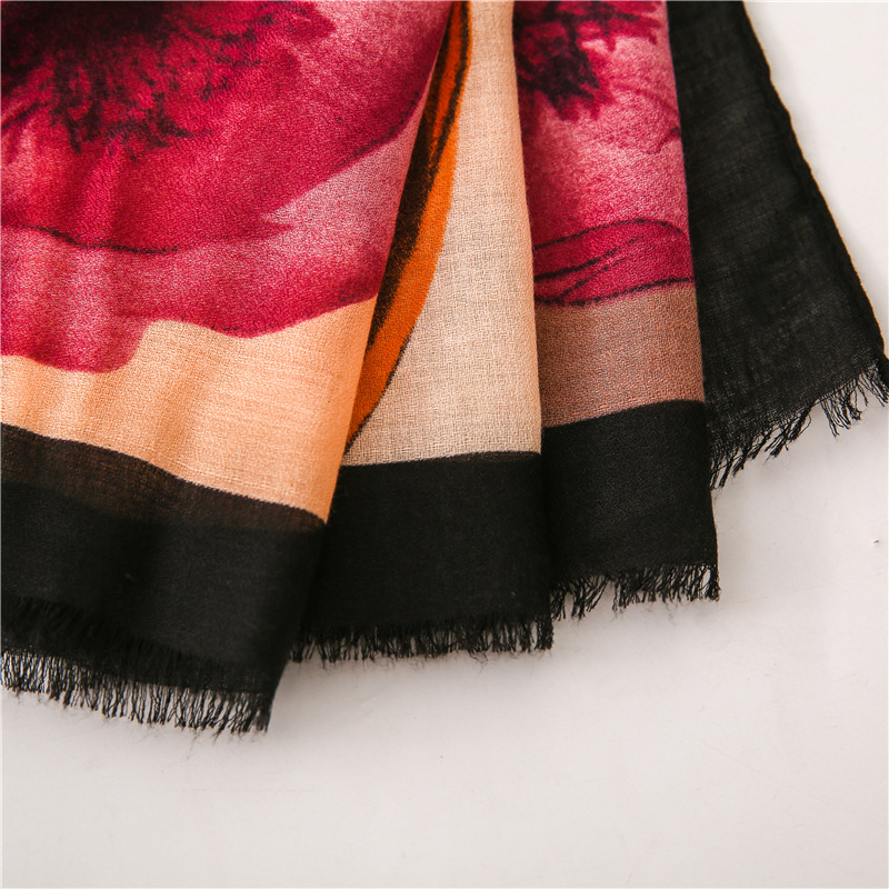 Scarf female oil painting style color rendering flower print super large tassel silk scarf shawl NHGD175778