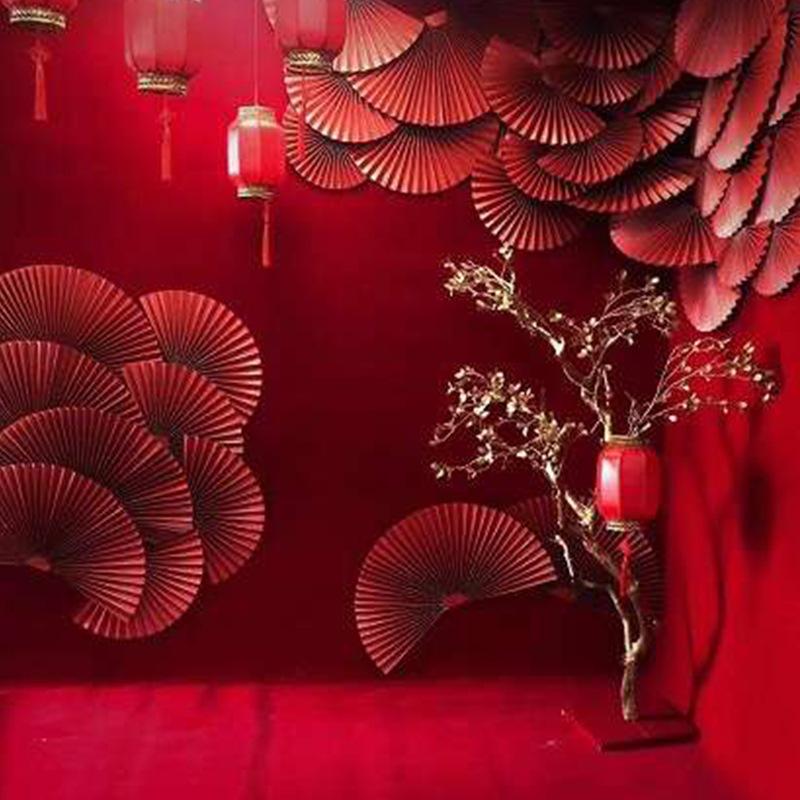 创意纸雕折纸纸扇婚庆道具  舞台背景墙面布置婚礼现场布景配饰