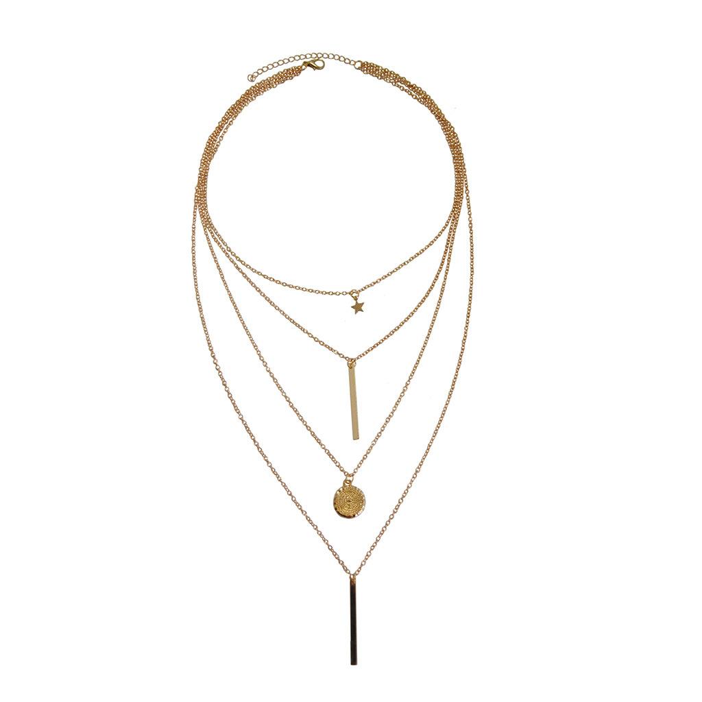 fashion Women's Pentagram Pendant Multilayer Necklace Wholesale New Necklace NHKS197128