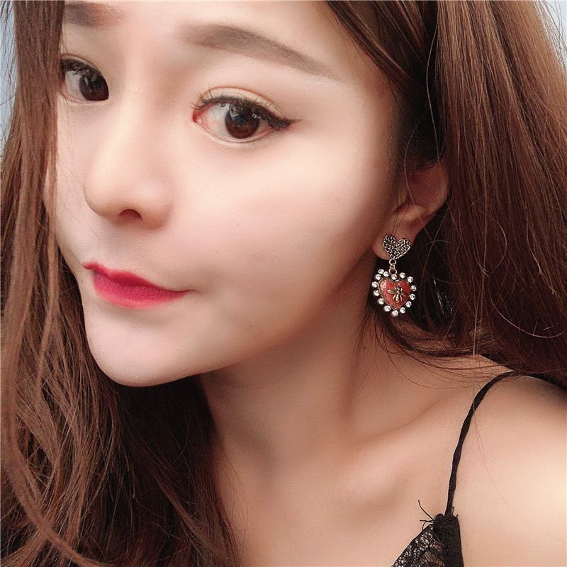Alloy Fashion Sweetheart earring  (red)  Fashion Jewelry NHVA5508-red