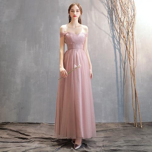 pink colored wedding Bridesmaid dress evening party A line evening dresses group bridesmaid dresses