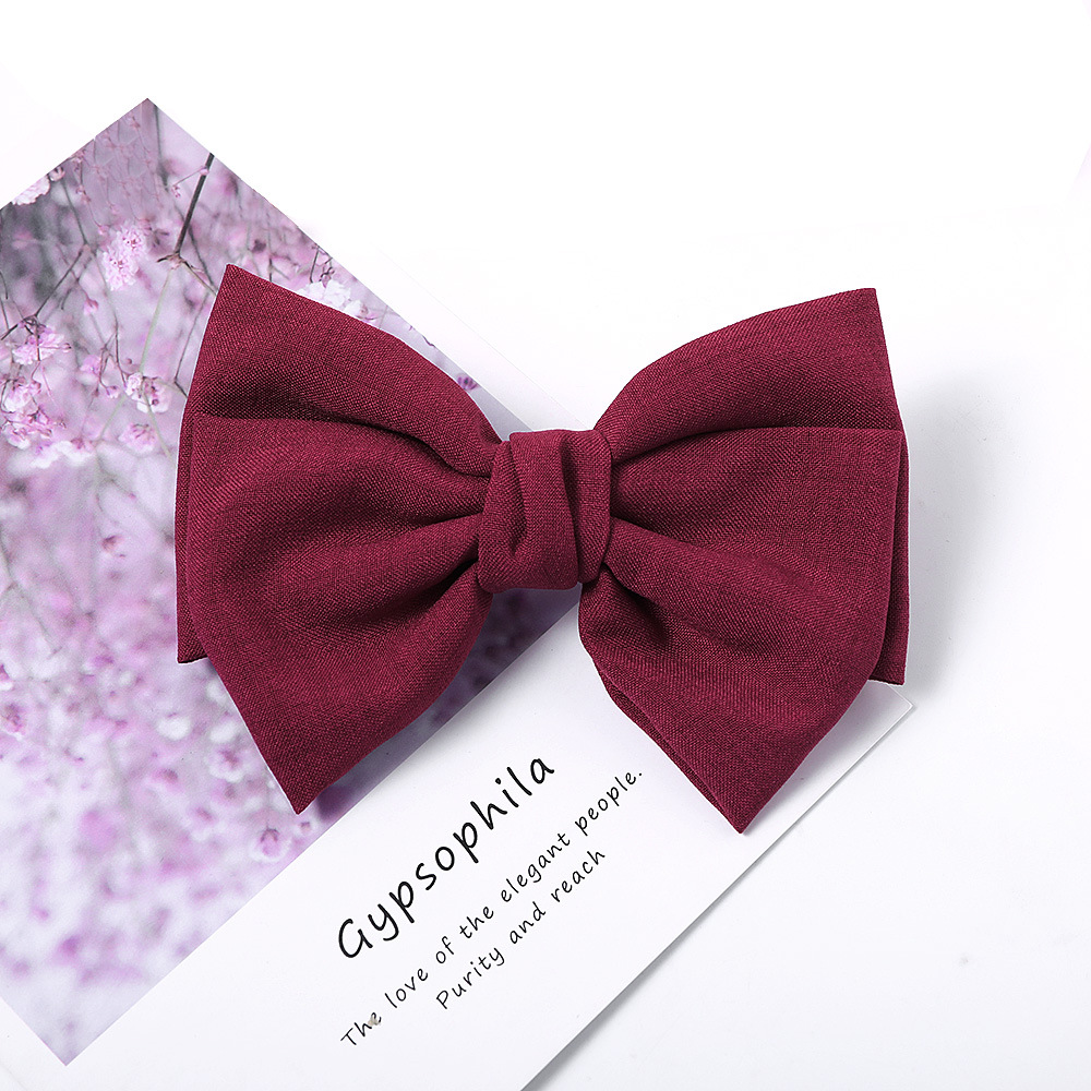 Knotted bow hair clip wild fabric knotted spring clip burlap cheap top clip hair accessories NHDM206653