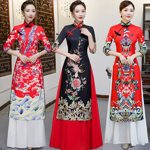 Chinese Dress Qipao cheongsam products long high end performance audai cheongsam two piece set authentic in China and Vietnam