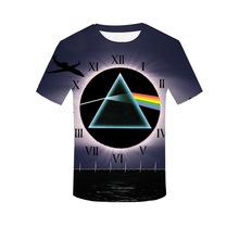 2019欧美跨境新款Pink Floyd 3d数码印花短袖宽松T恤圆领情侣装