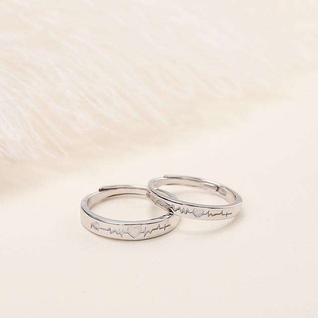 Khéo léo trang sức gốc s925 sterling bạc đôi ECG mở nhẫn bạc sterling Nhẫn