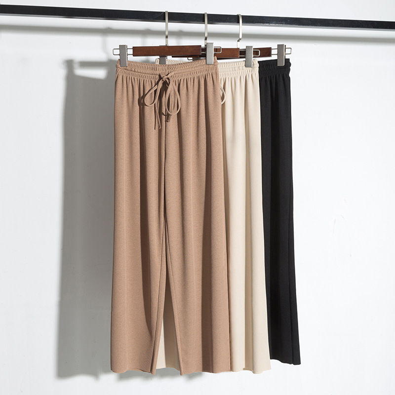 冰絲針織墜感闊腿褲女夏季九分高腰垂感松緊腰寬松拖地長褲直筒褲