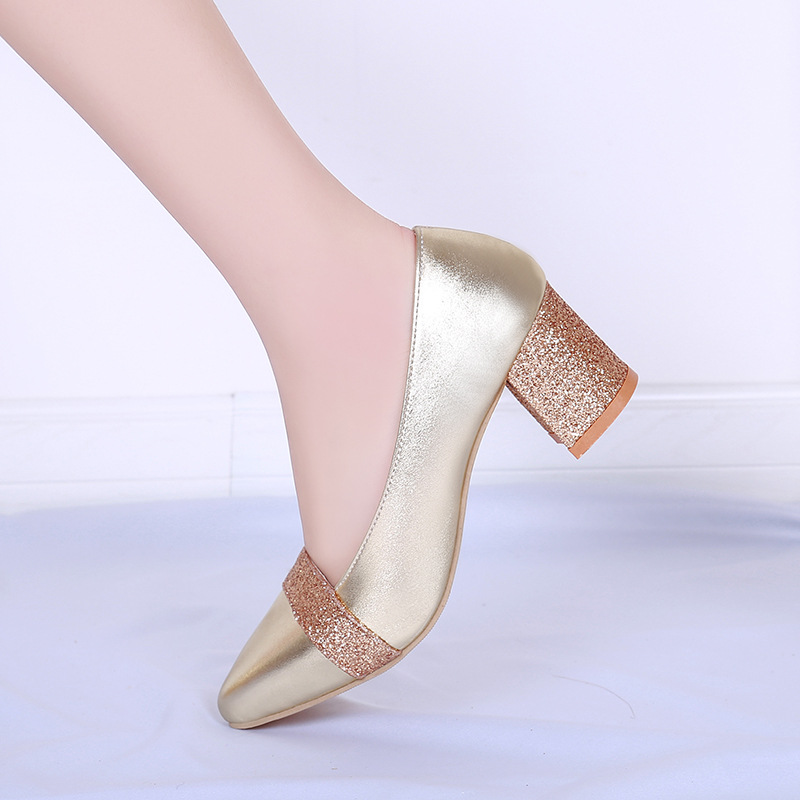 Cross border foreign trade women's shoes thick heel high heel sequined work shoes women's single shoes wish Amazon large shoes women's shoes