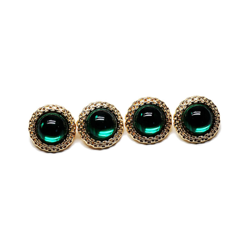 Round Retro White Green Pearl 925 Silver Stud Earrings Retro Golden Concave Lace Round Ear Studs NHOM190849