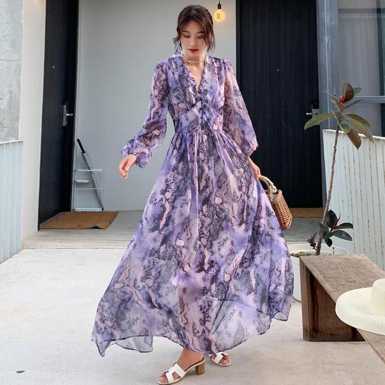 复古裙高腰连衣裙夏雪纺紫色高端2019新款气质收腰沙滩裙海边度假