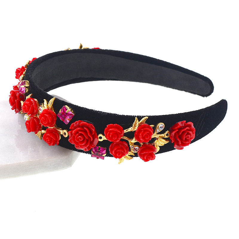Fashion wild wide-width magnetic flower and rhinestone headband NHNT134356
