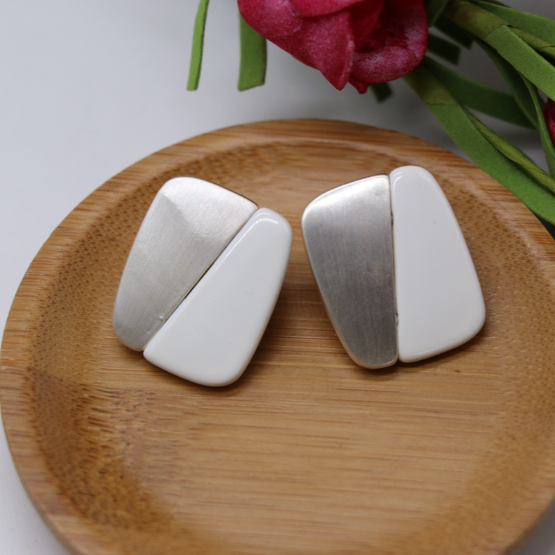 Rectangular gold and silver two-color stitching stud earrings fashion design ear stud earrings NHOM177591