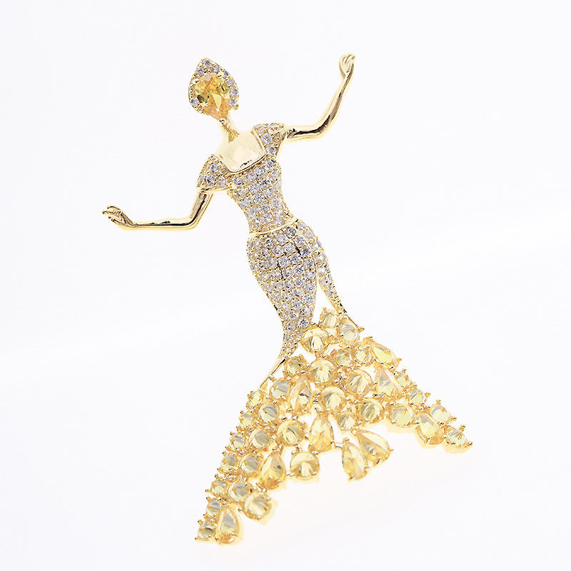 Fashion copper inlaid zircon princess brooch NHDO144832