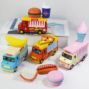 Boxed alloy car Mingyuan magnetic induction fun fast food car with sound and light music effect toy car gift wholesale