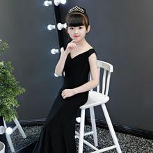 2019黑色新品時尚兒童模特走秀修身魚尾禮服 T臺時裝一字肩演出服