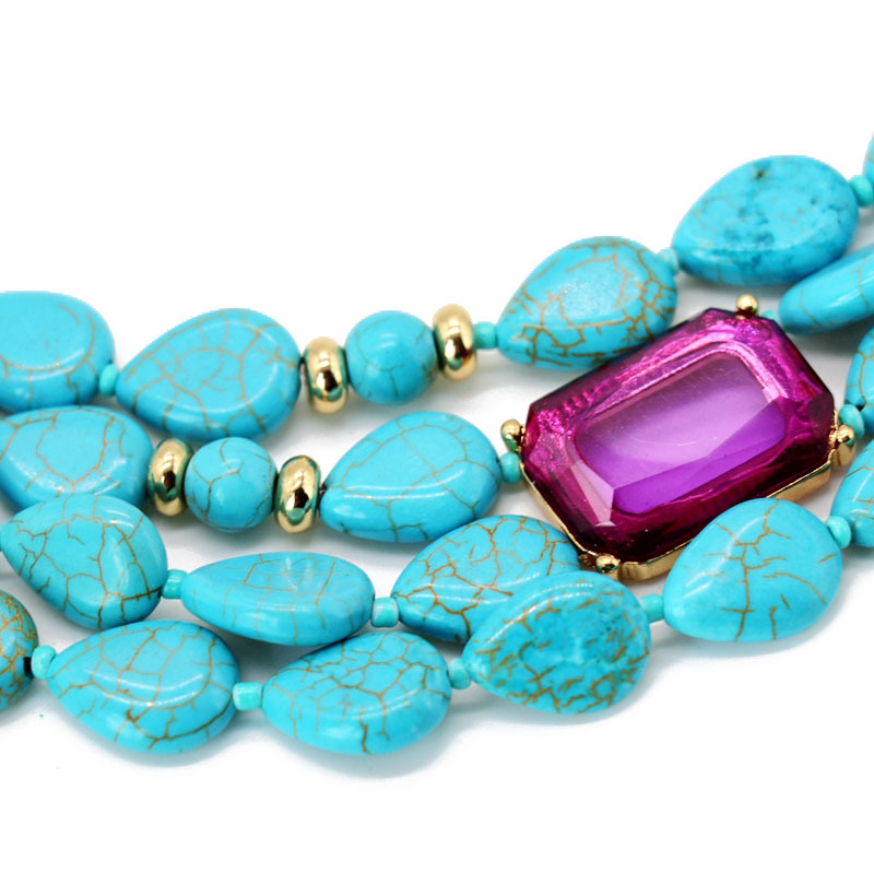 Stylish and simple natural turquoise multilayer necklace NHOM147908