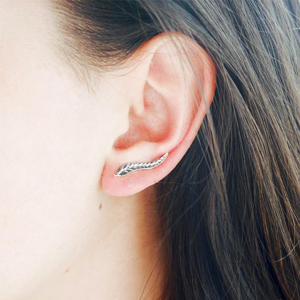 Womens Fresh green leaves Electroplating Alloy Earrings NHJJ121589