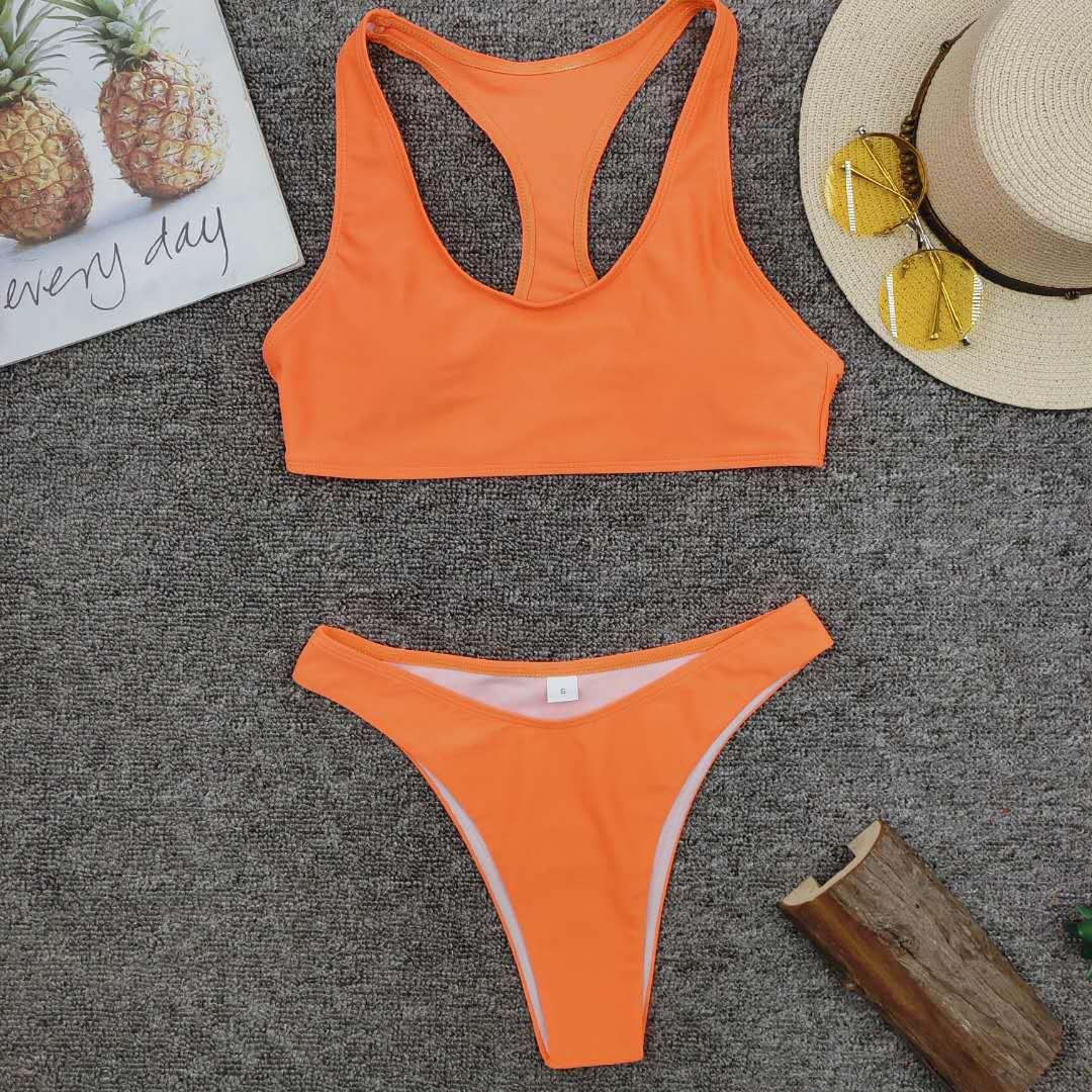 New hot style ladies split solid color swimwear bikini wholesale nihaojewelry NHZO243827