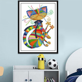 New cross-stitch colorful cat and kitten animal series bedroom small popular diamond painting