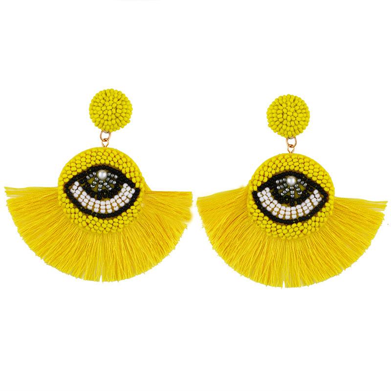 Womens Fan Shaped Rice Beads Tassels Other Earrings NHAS132601