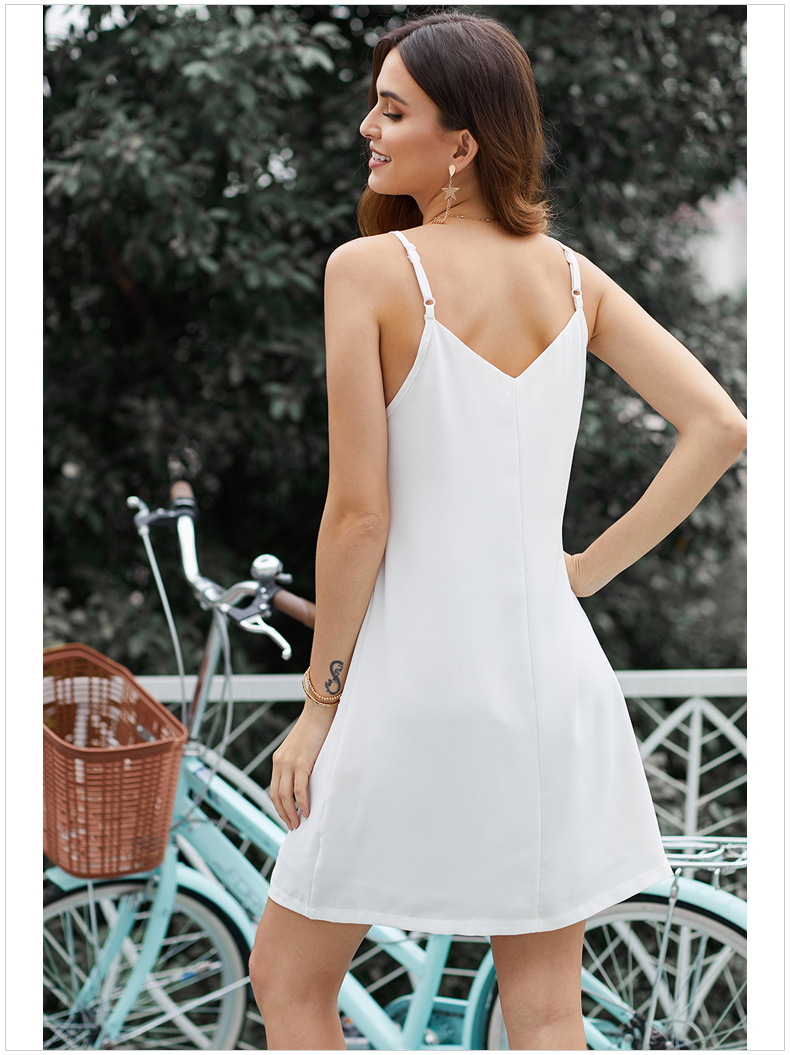 sling summer v-neck solid color sexy single-breasted loose mini dress for women NSSI2417