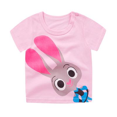 一件代发儿童短袖T恤纯棉韩版男女童圆领肩扣上衣童装宝宝打底衫