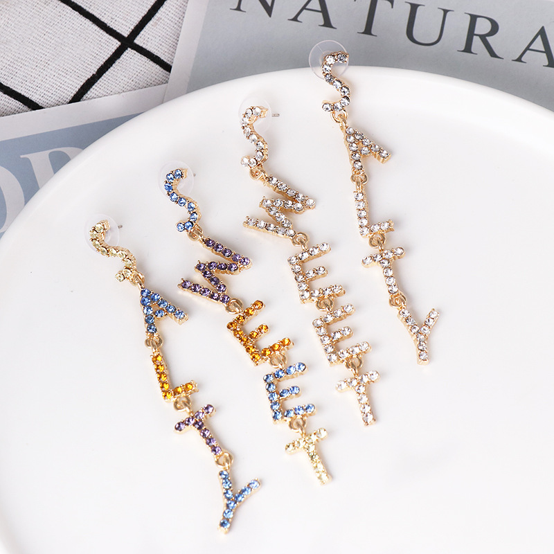 New creative alphabet earrings simple asymmetric diamond English alphabet earrings wholesale NHJJ190116