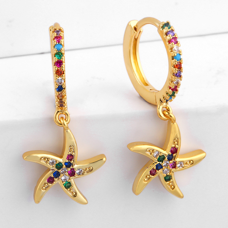 Ocean style alloy-plated colorful shell earrings NHAS136974