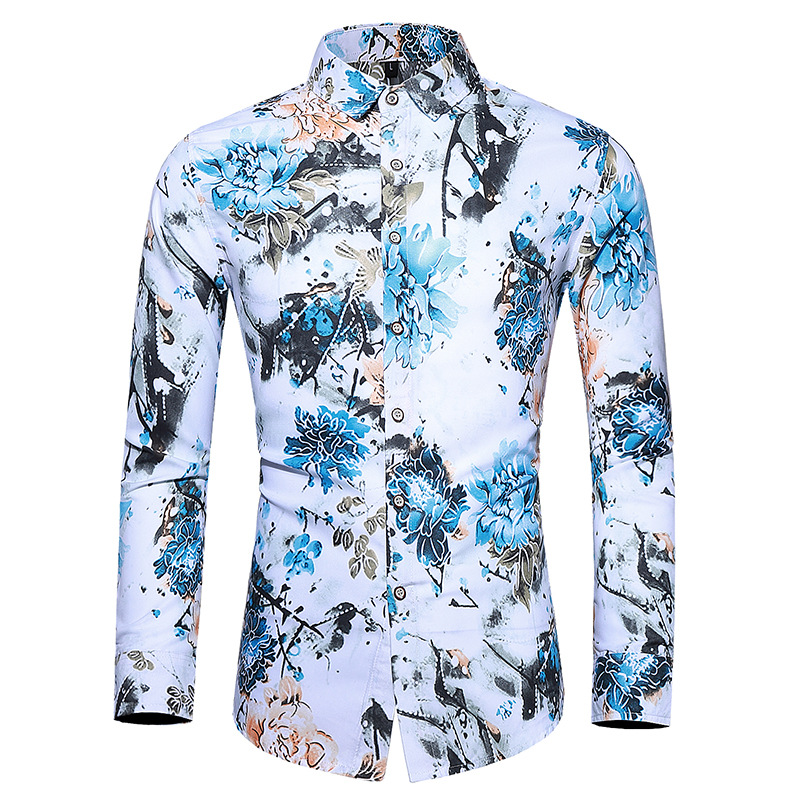 Foreign trade autumn new enlarged men's long sleeve printed shirt men's slim British style square neck long sleeve shirt