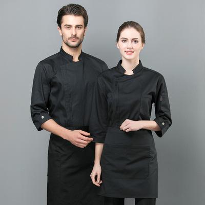 厨师工作服男短袖夏季饭店餐饮厨房时尚中国风厨师服定制薄款透气