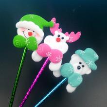 韓國熱賣圣誕節圓珠筆卡通老人頭圣誕禮品促銷小學生用品獎品