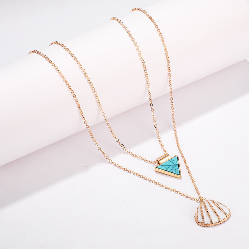 Fashion geometric triangle turquoise alloy shell multi-layer necklace NHGY150260