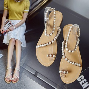 Large Bohemian pearl sandals leather women shoes flat bottom clip toe beach shoes