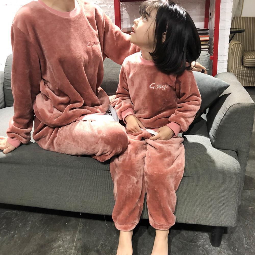 包邮女童装2019秋冬季新款珊瑚绒长袖亲子款睡衣母女装家居服套装